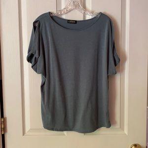 Green cold shoulder short sleeve